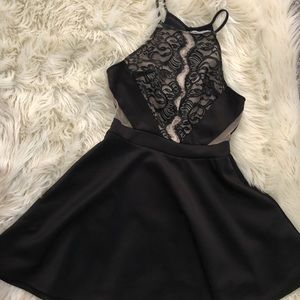 Black halter top dress with lace detail